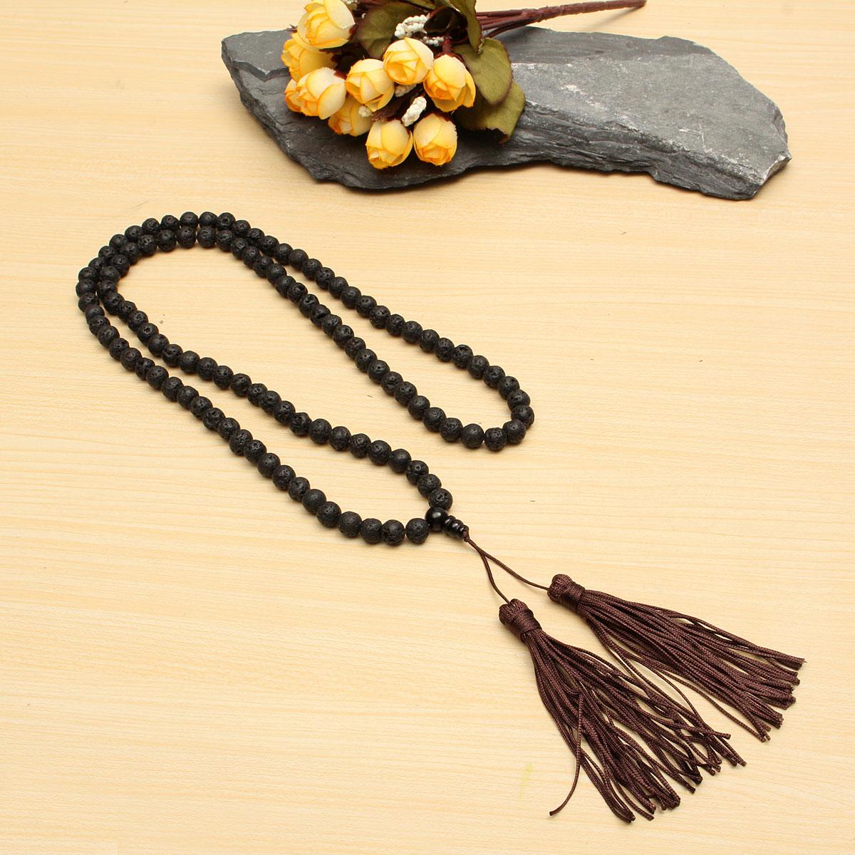 8mm Black Round Volcano Stone Beads Buddhist Necklace Unisex
