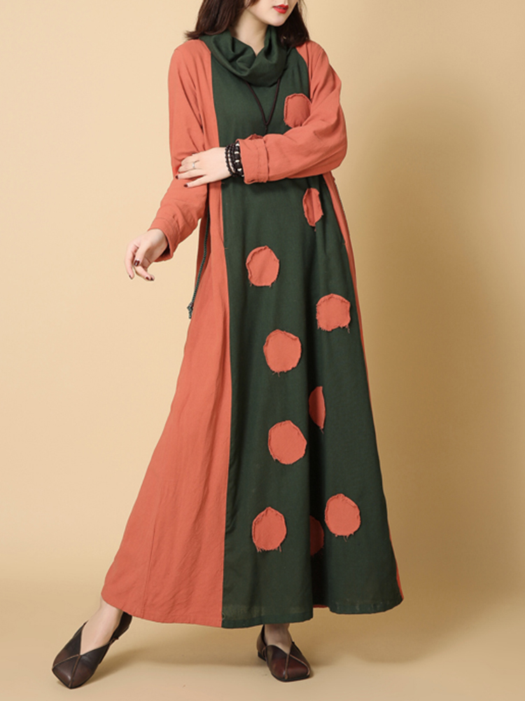 Women Patchwork Turtleneck Loose Vintage Maxi Dress