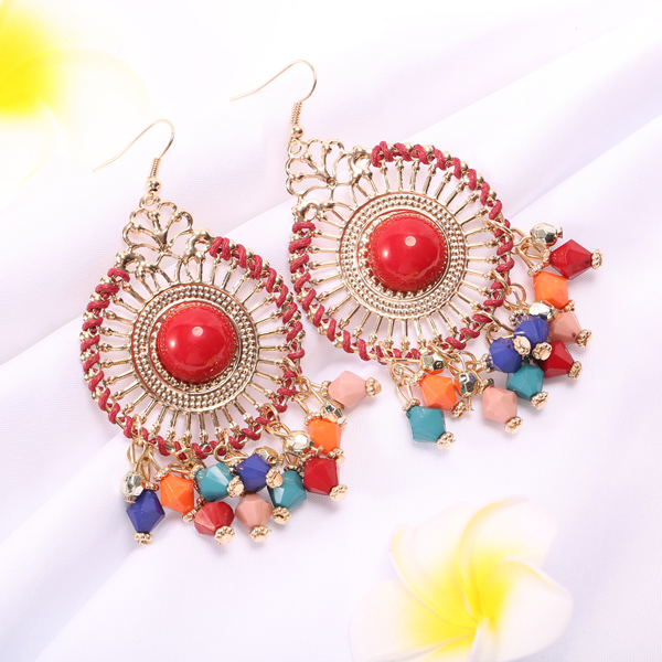 Bohemian Colorful Women's Bead Tassel Drop Earrings