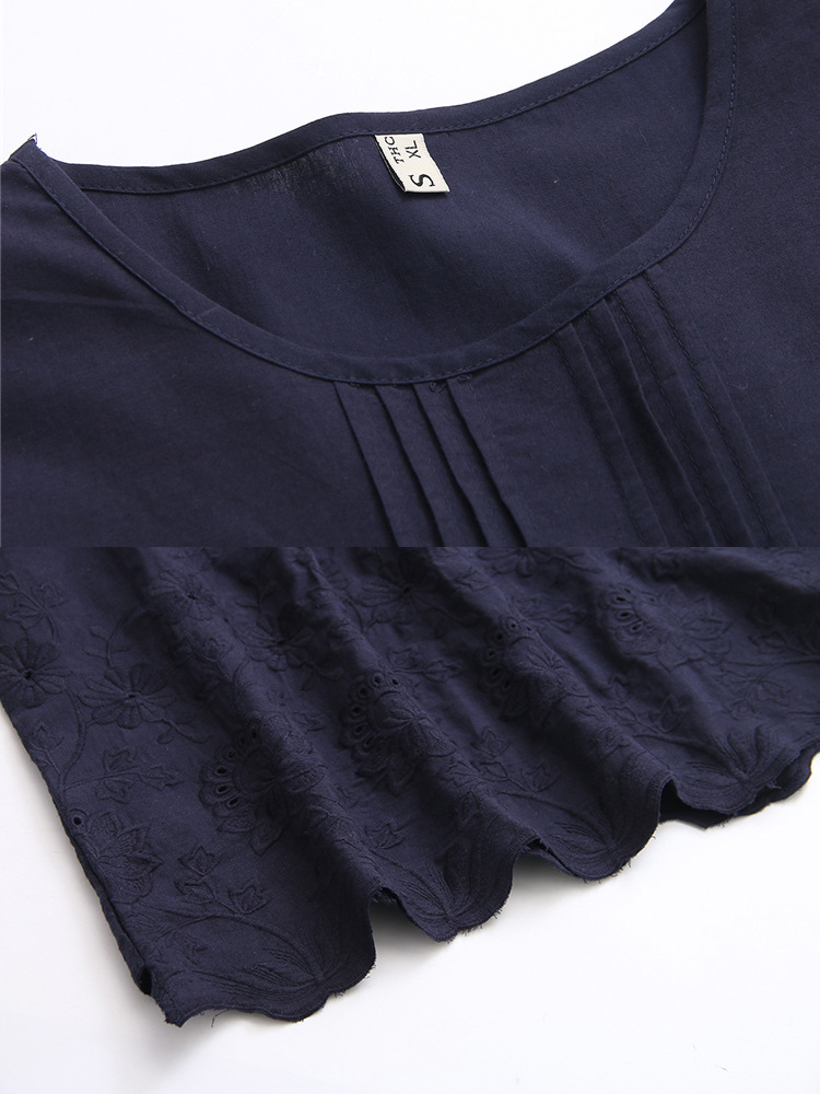 Women Pleated Embroidery Short Sleeves Blouse