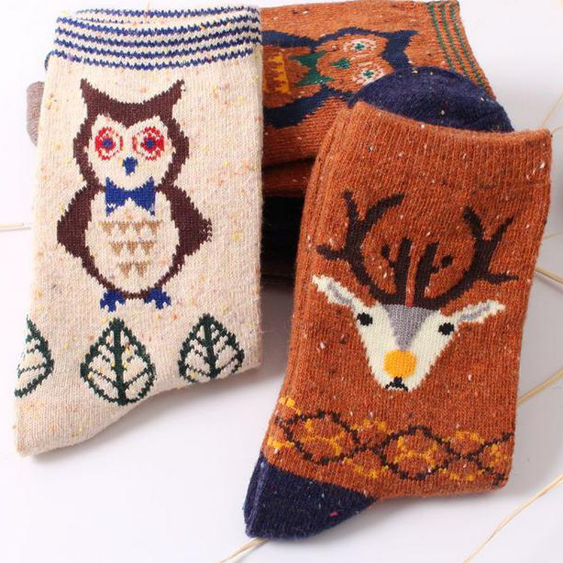 Women Girl Wool Blend Cute Animal Cartoon Cat Deer Owl Elephant Pattern Warm Socks Hosiery