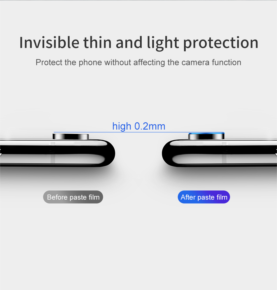 Baseus 0.2mm Clear Scratch Resistant Rear Camera Lens Tempered Glass Protector For iPhone XR 6.1