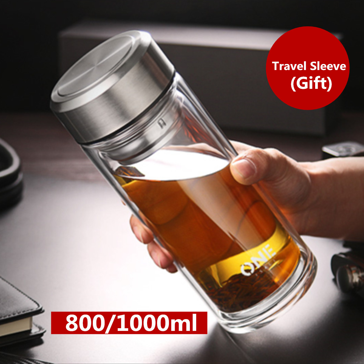 Large Glass Juice Water Bottle Double Walled Tea Infuser Mug With Travel Sleeve