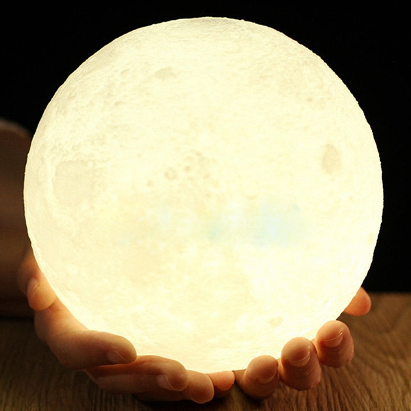 18cm Magical Two Tone Moon Table Lamp USB Rechargeable LED Night Light Touch Sensor Gift