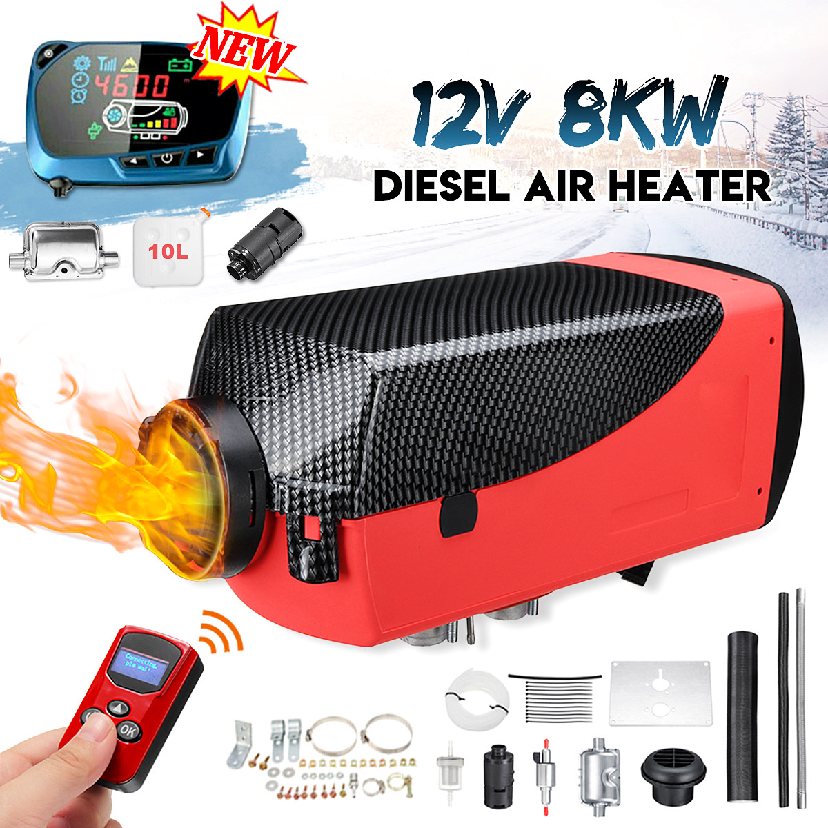 12V 8KW Air Diesel LCD Thermostat Remote Control Silencer Parking Car Heater For RV Truck Boat Trailer Heating