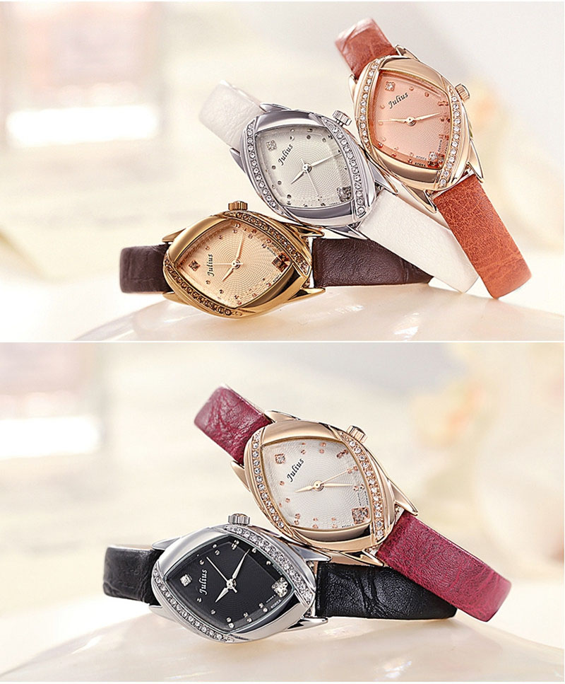 JULIUS 660 Luxury Genuine Leather Strap Bling Rhinestone Ladies Quartz Wrist Watch