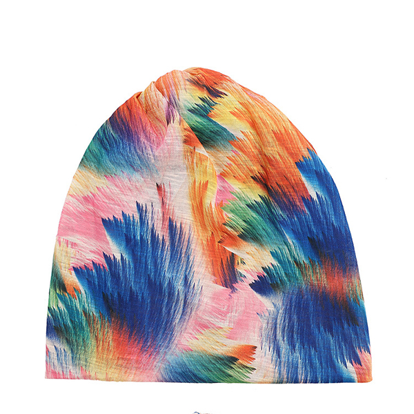 Women Double Hat Scarf Color Printing Stripe Fashion Bonnet Cap Multi-function Neck Scarves