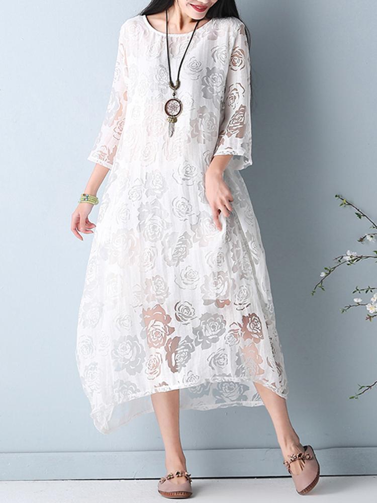 Elegant Women O-Necklace Crochet 3/4 Sleeve Pure Color Midi Dress