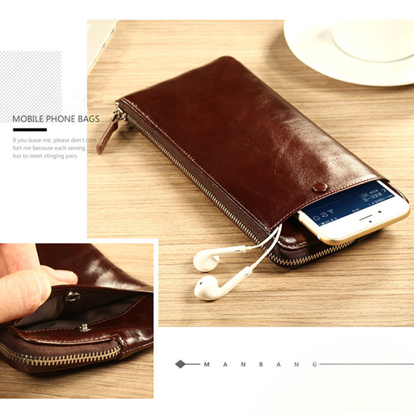 Men Genuine Leather Vintage Long Phone Wallet
