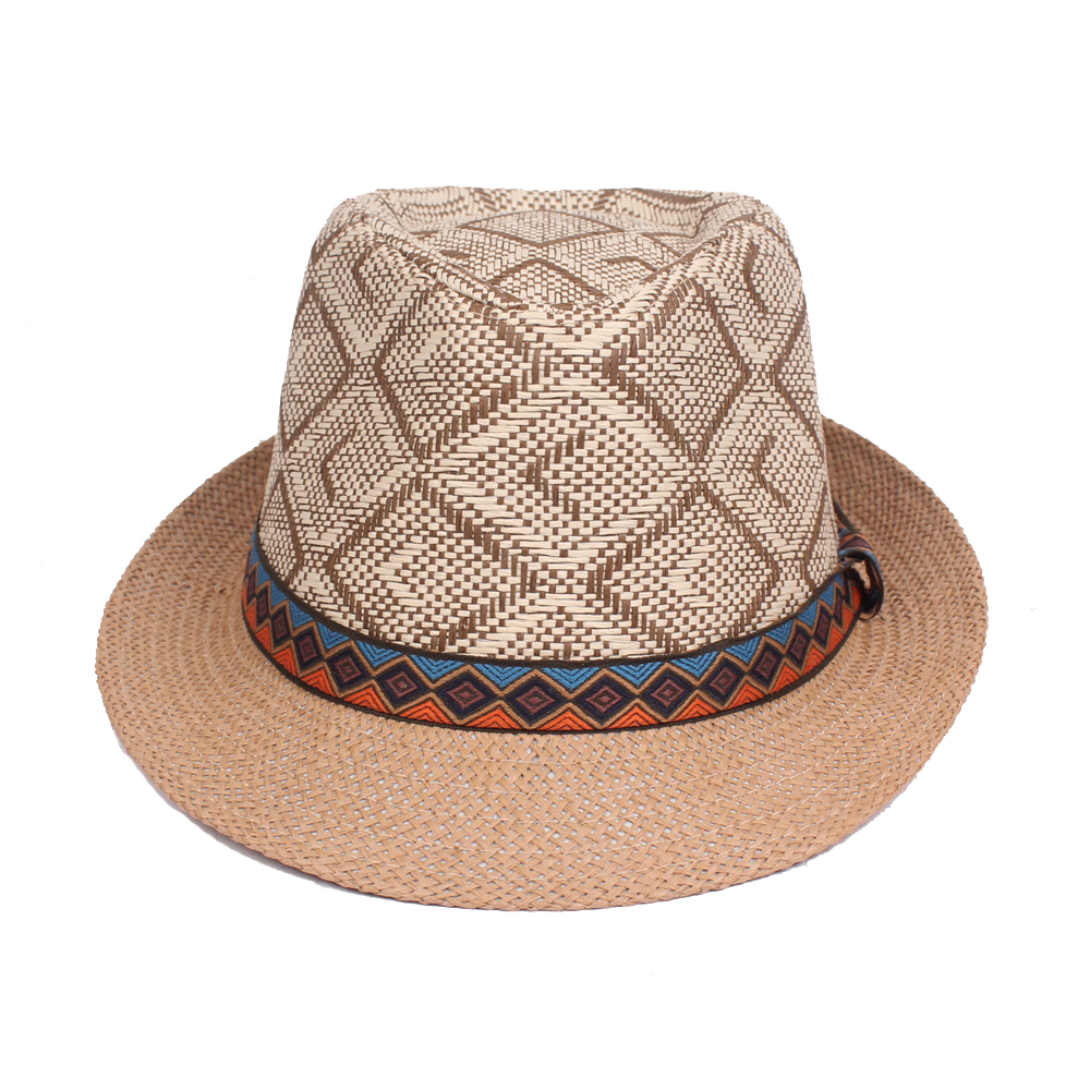 Panama Style Ethnic Trilby Fedora Straw Sun Hat with Belt