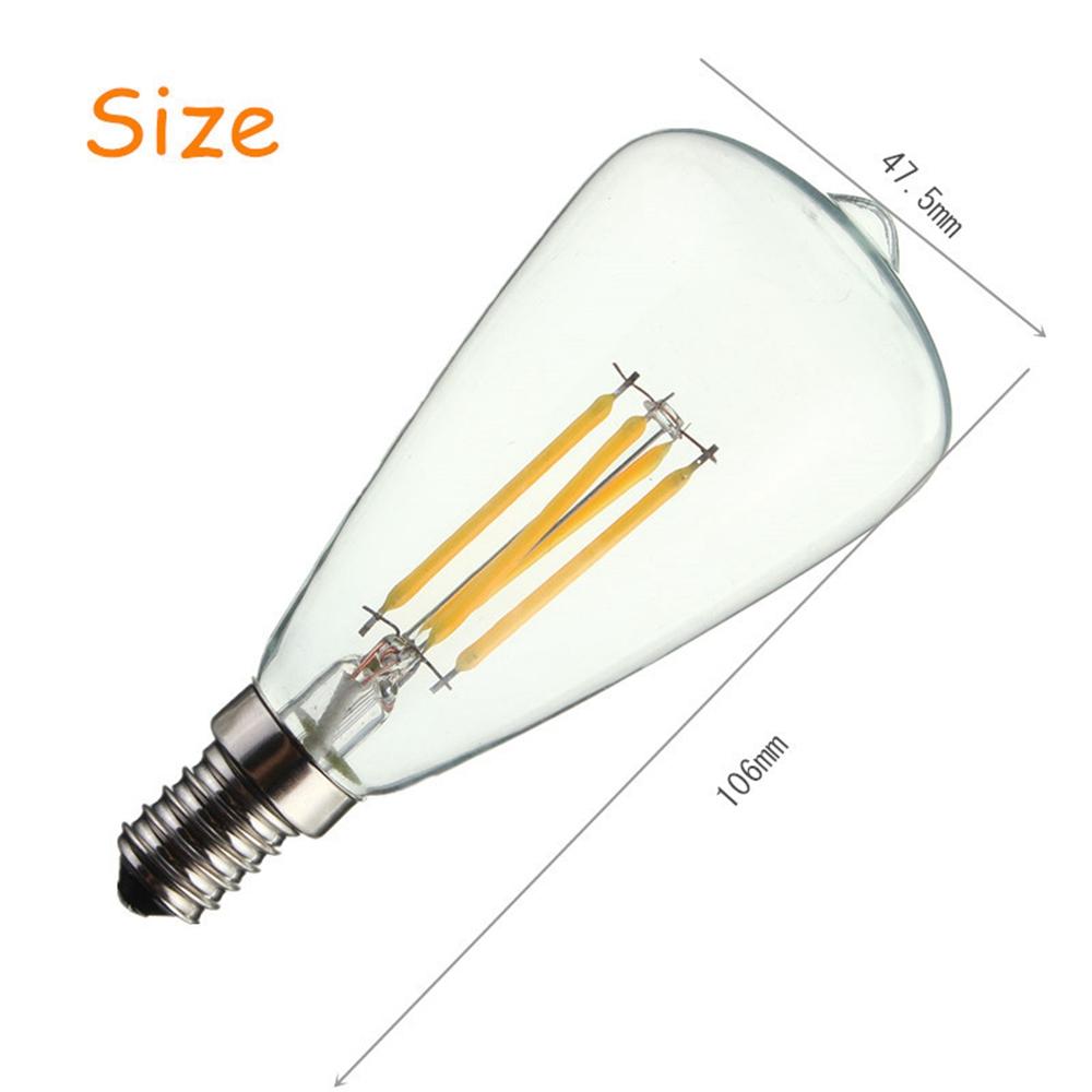 Kingso AC220V E14 4W LED Filament COB Light Bulb Edison Retro Vintage Lamp for Home Decor
