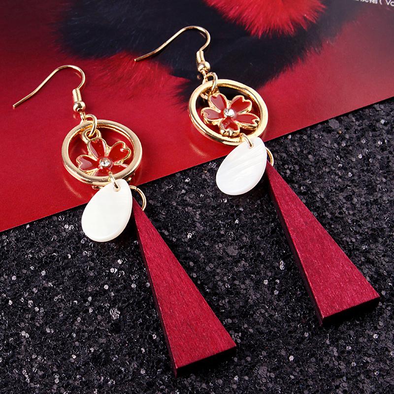 Trendy Long Wood Pendant Flower Ear Drop Gift Earrings