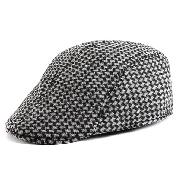 Unisex Men Women Swallow Grid Woolen Beret Cap Newsboy Flat Cowboy Cabbie Hat