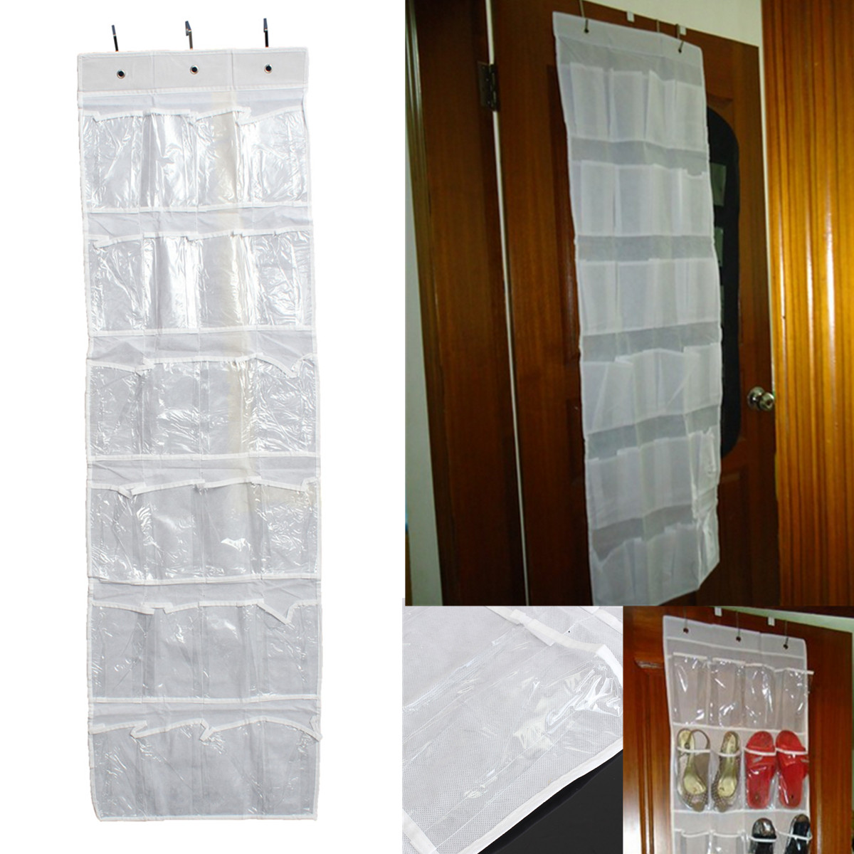 24Pocket Hanging Over Door Stainless Steel Holder Shoes Nonwoven Fabric Organizer Storage Door Wall Closet Bag
