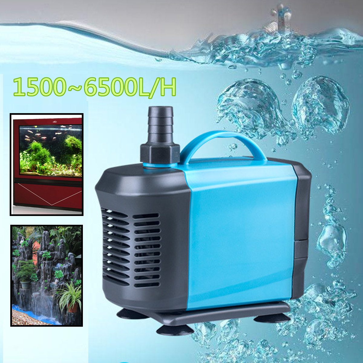1500~6500L/H Submersible Aquarium Oxygen Pump Pond Fish Tank Silent Water Filter