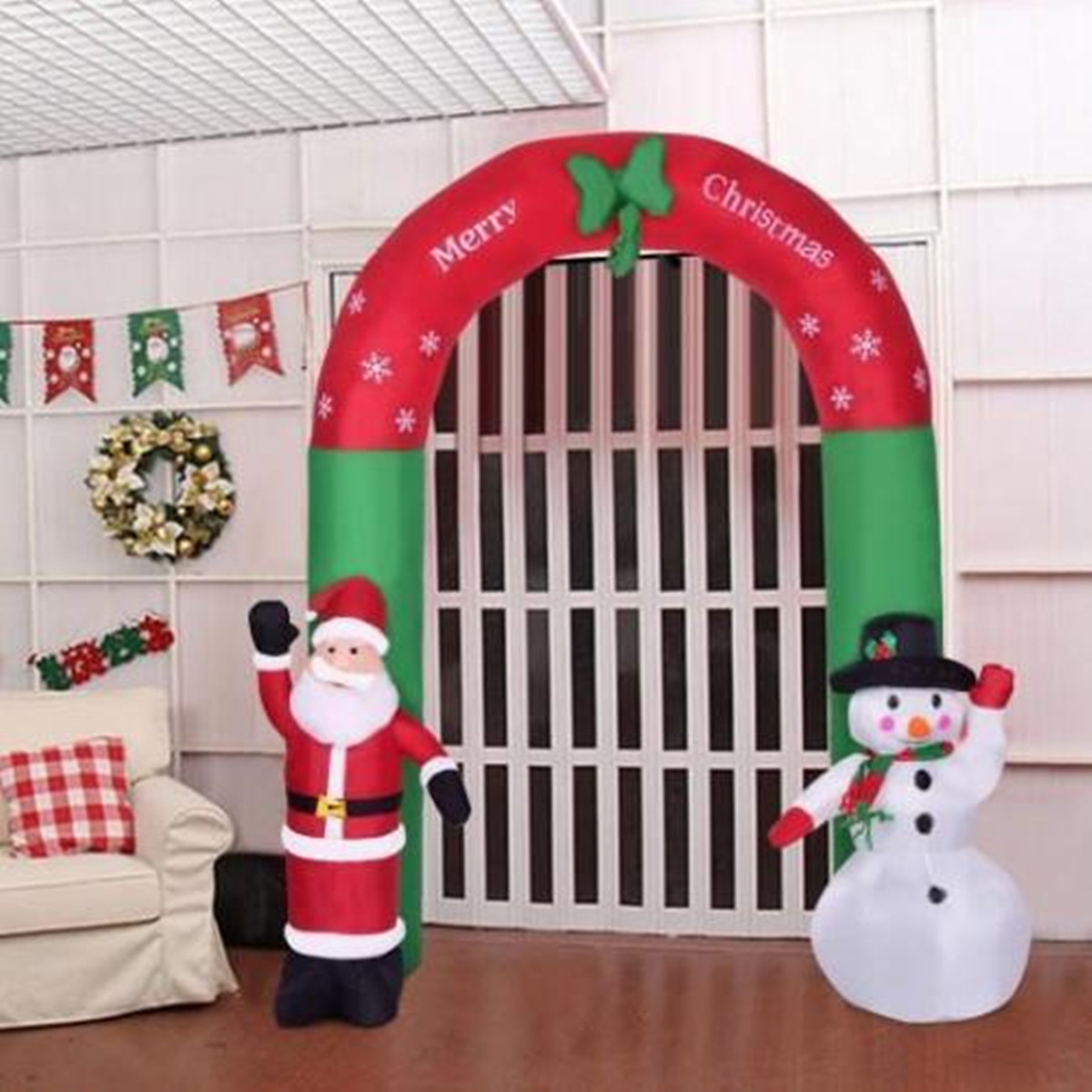 2.4m Inflatable Christmas Arch Santa Snowman Indoor Outdoor Decor Decorations