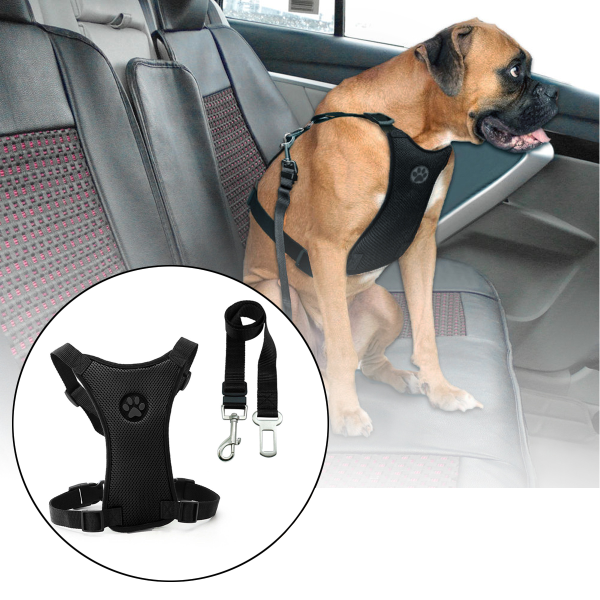 Size L Air Mesh Dog Car Seat Belt Adjustable Harness wi