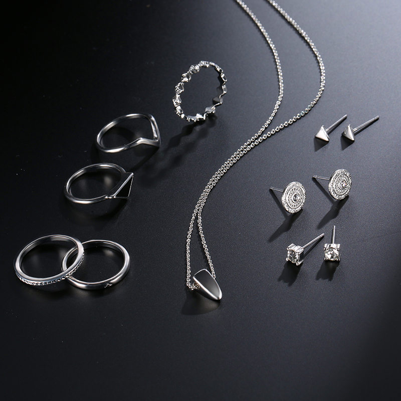 9 Pcs of Silver Plated Rings Crystal Earrings Geometric Necklace Jewelry Set