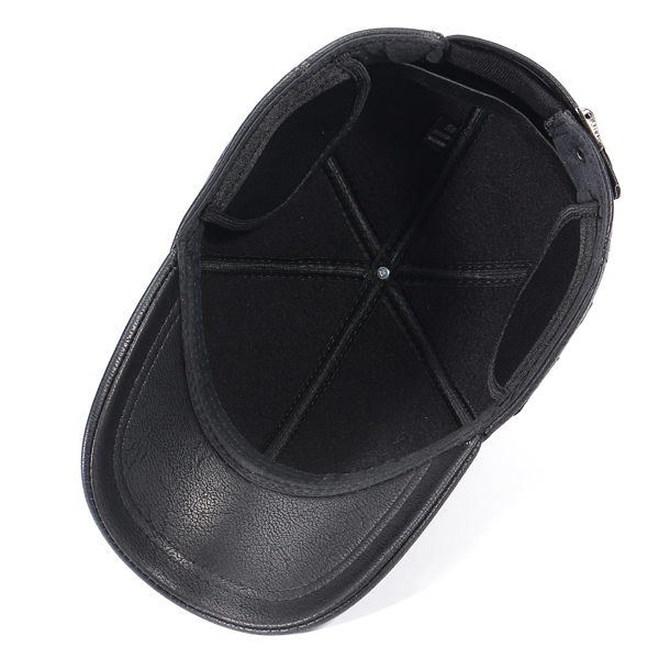 Mens Artificial Leather Earflaps Warm Baseball Caps
