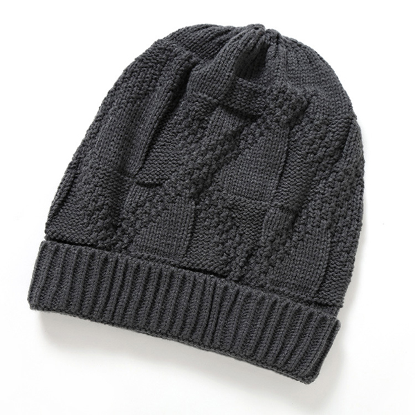 Women Crochet Knitted Warm Beanie Hat Solid Casual Winter Outdoor Thick Cap