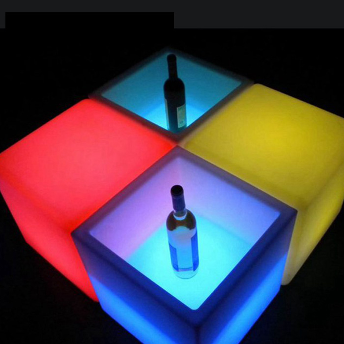 LED Ice Bucket Double RGB Color Layer Square Bar KTV Beer Ice Bucket