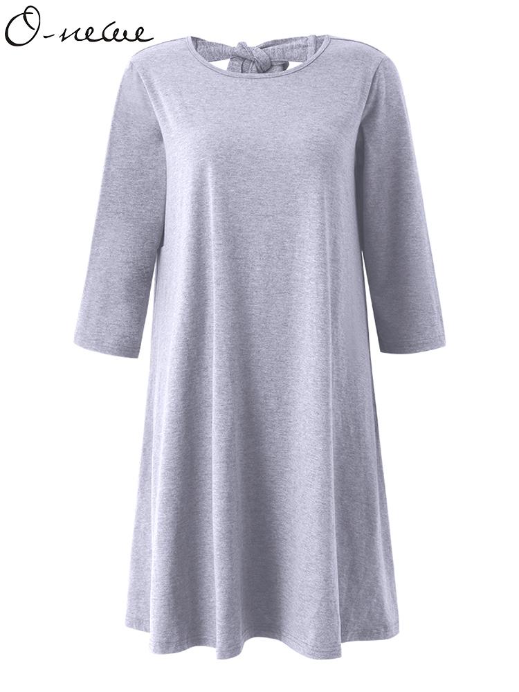 Loose Women Pure Color Back Bow Cotton Mini Dress