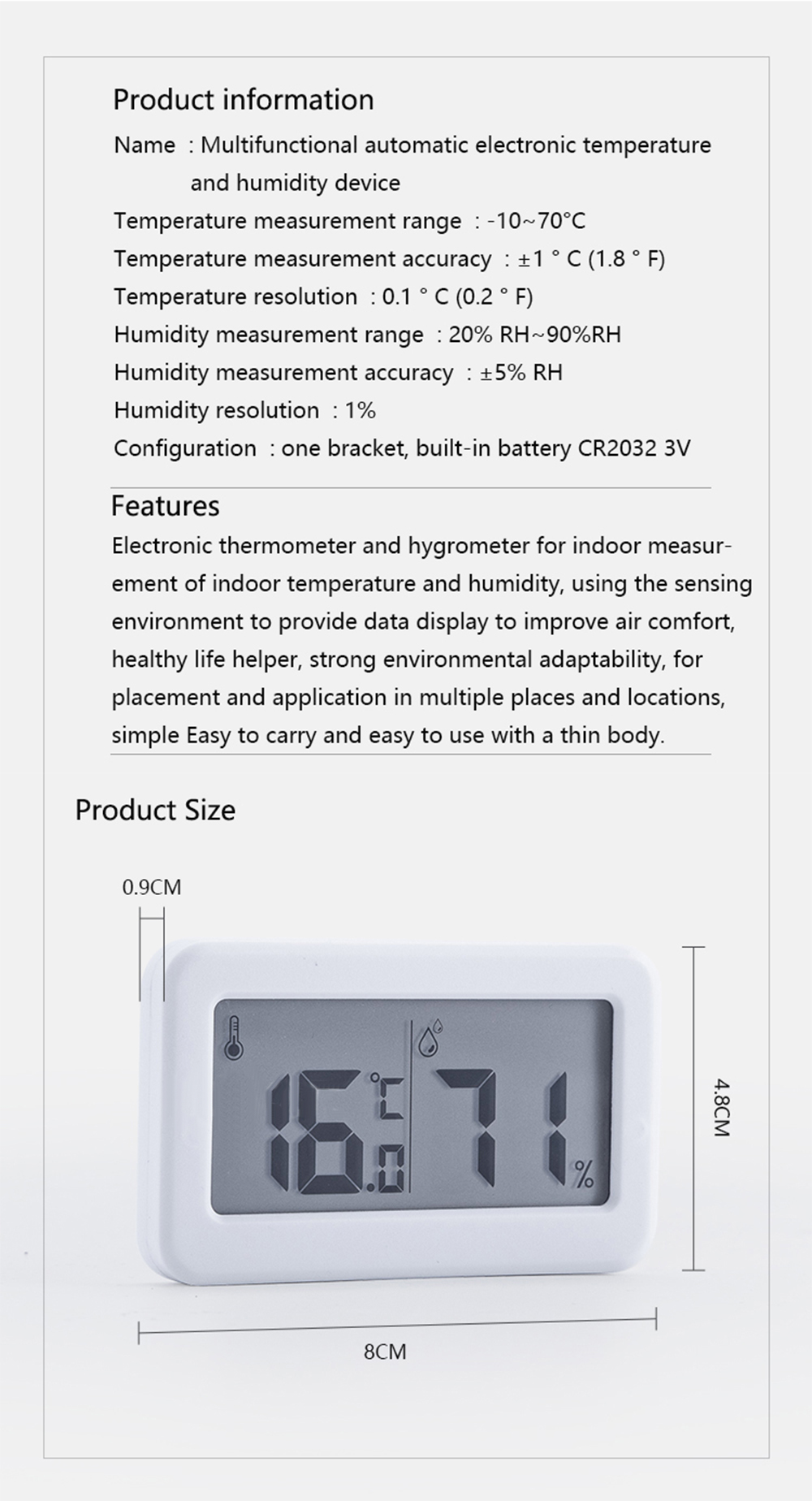 PANDUN Ultra-thin Multifunctional Electronic Digital Hygrothermograph Home Thermometer Hygrometer Indoor Temperature Humidity Monitor for Baby Room from Xiaomi Youpin
