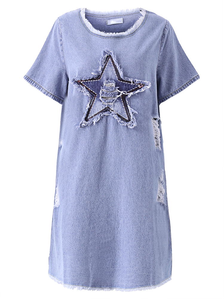 Blue Casual Short Sleeve Five-Pointed Star Pattern Ripped Denim Mini Dress