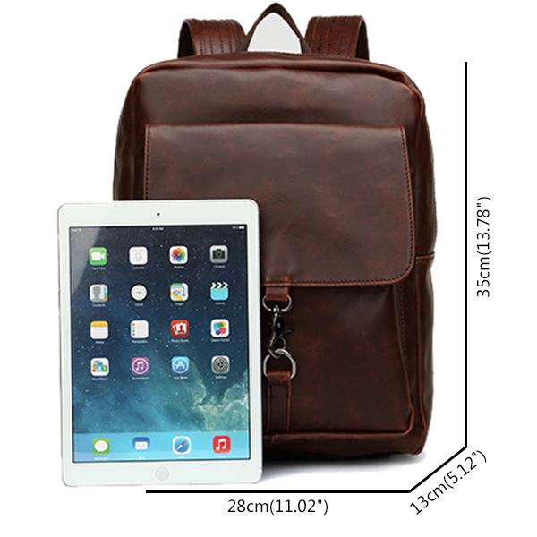 Men PU Leather Retro Minimalist Backpack Casual Travel Mochila Laptop Bag