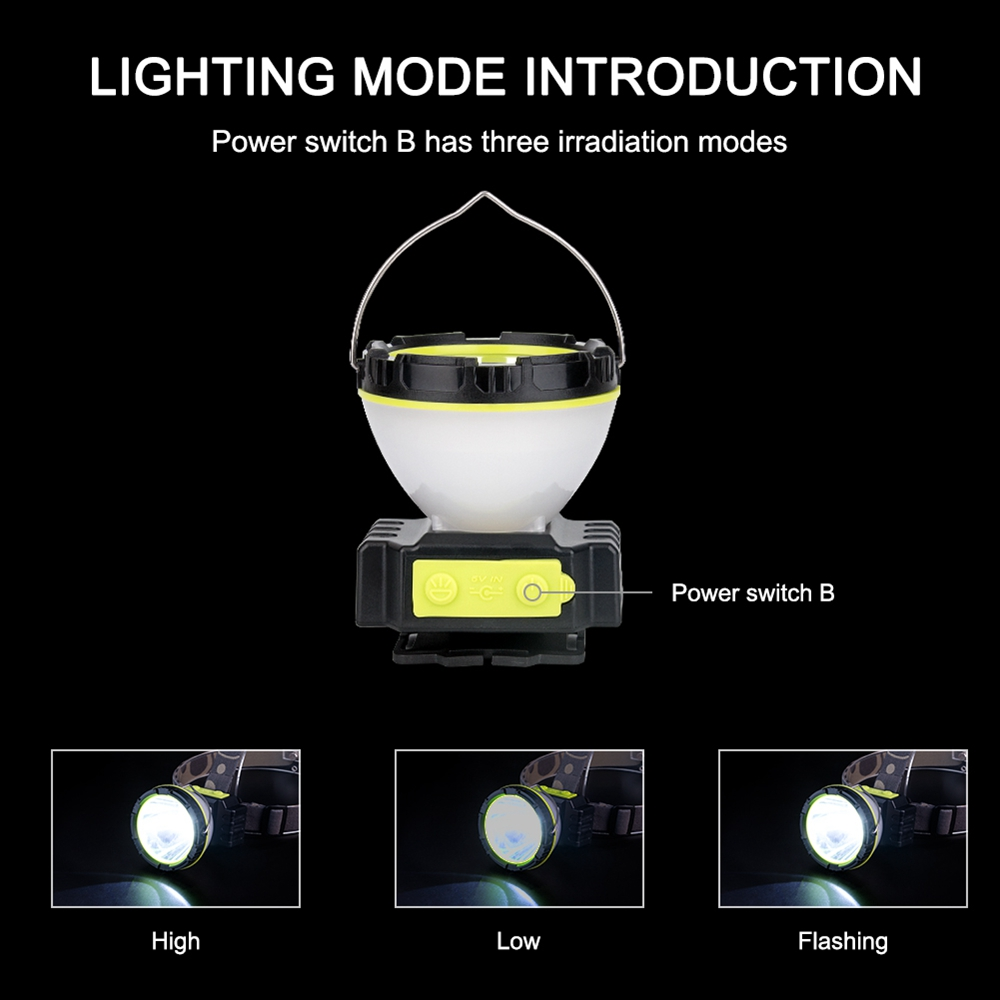Multi-functional 10W Rechargeable LED Headlight Portable Dimmable Camping Light Outdoor Spotlight