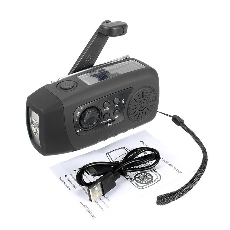 N29TF Portable Hand Crank Generator Solar Dynamo FM AM Radio With Flashlight MP3 Player