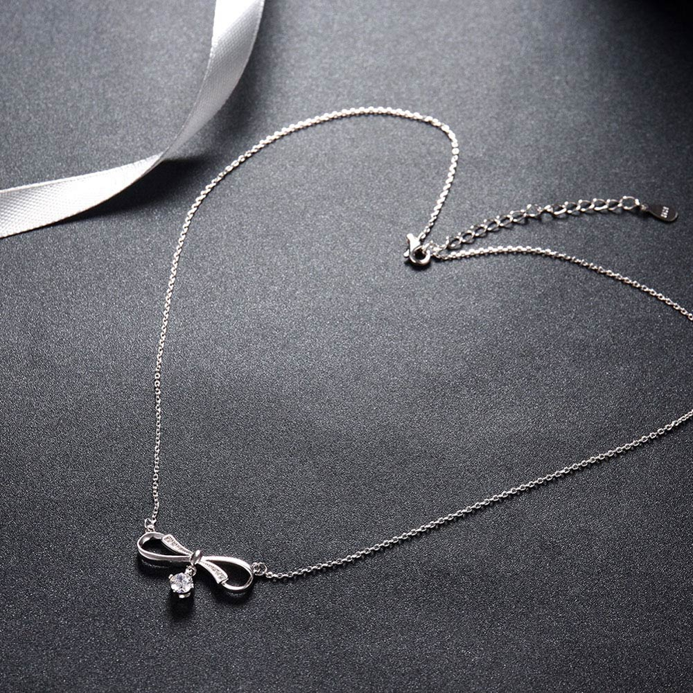 925 Sterling Silver Necklace Bowknot Zicon Drop Pendant