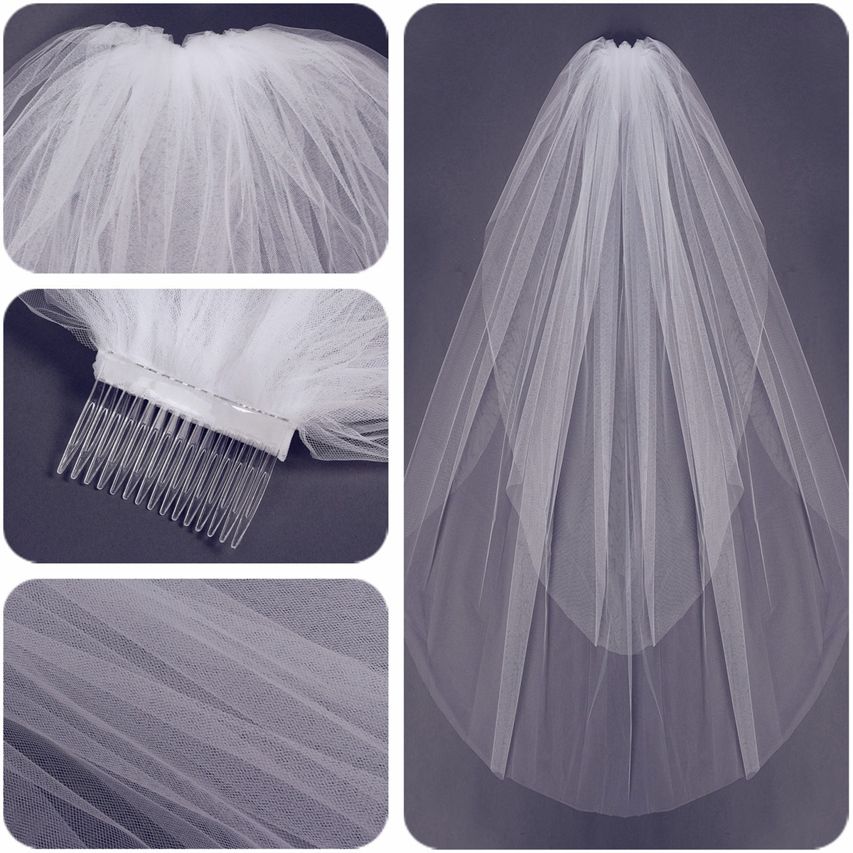 2 Layers Bride White Ivory Bridal Elbow Length Cut Edge Wedding Veil With Comb