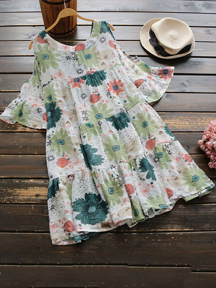 Women Off Shoulder Loose Pleated Floral Mini Dress
