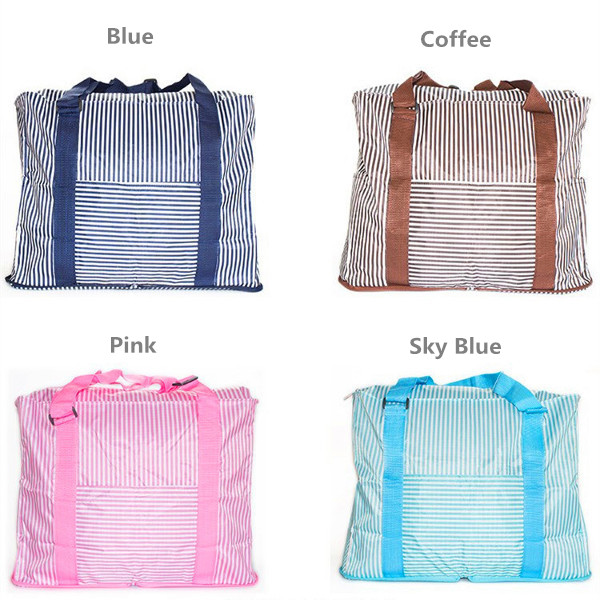 Foldable Travel Duffel Handbags Large Capacity Striped Light Shoulder Bags Shopping Tote