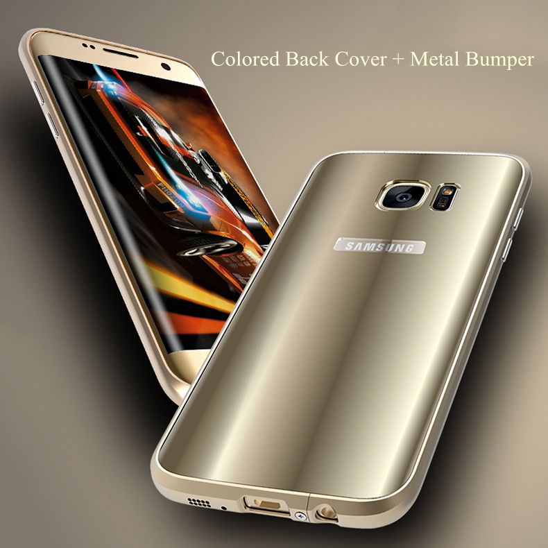 Metal Bumper+Colored PC Shell Case For Samsung Galaxy S7 Edge