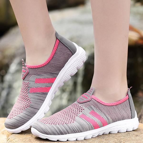 Women Breathable Mesh Health Sport Casual Slip On Flats