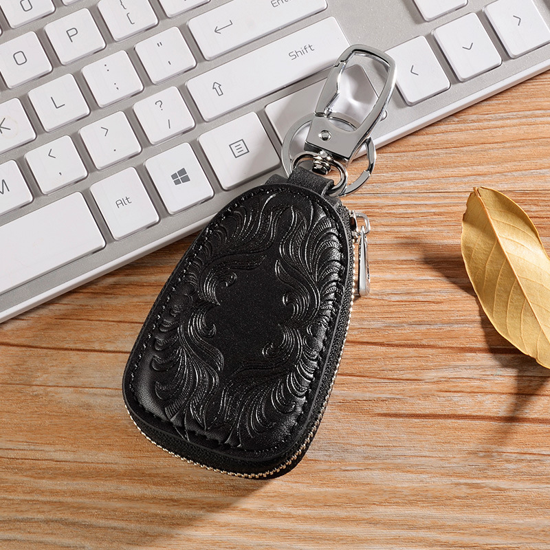 Men Women Retro Genuine Leather Car Key Holder Key Bag Keychain Wallet