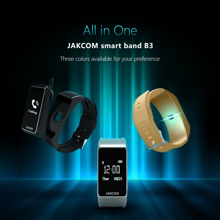 JAKCOM B3 OLED bluetooth Heart Rate Fitness Tracker With Headset Bracelet Smartband