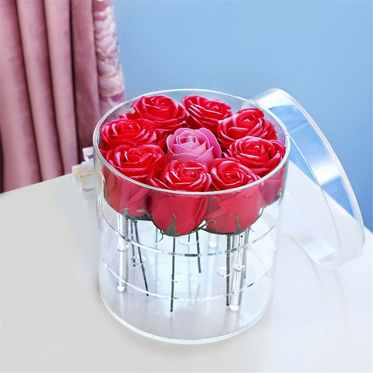 Clear Acrylic Rose Flower Box with Cover Romantic Flower Fresh-keeping Display Box