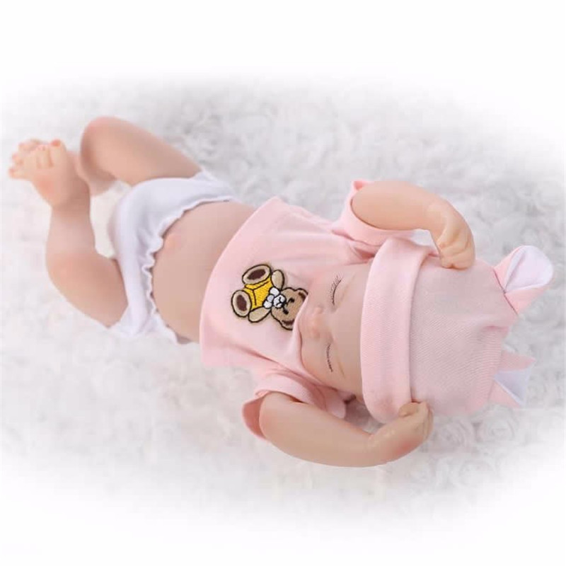 Sleeping Mini Twins Reborn Baby Dolls 11 Inches Full Silicone Newborn Babies Sleeping Girl And Boy