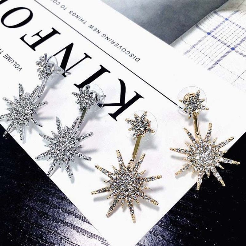 1Pc Fashion Ear Drop Earrings Rhinestone Snowflake Dangle