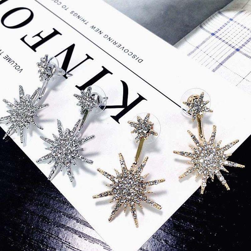 1Pc Fashion Ear Drop Earrings Rhinestone Snowflake Dangle
