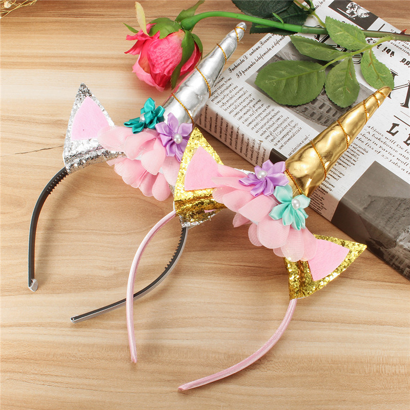 Christmas Halloween Party Home Decoration Unicorn Headband With Flowers Cosplay Props For Kids Gift
