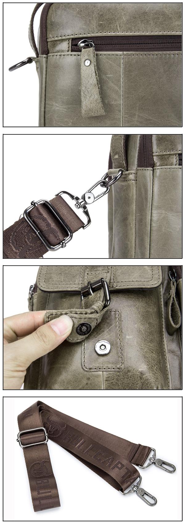 BULLCAPTAIN Men Genuine Leather Shoulder Bag Business Handbag Leisure Messenger Bag Crossbody Bag