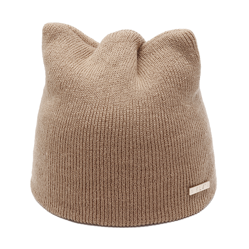 Women Girls Winter Cat Ears Knit Cap Earmuffs Warm Hat
