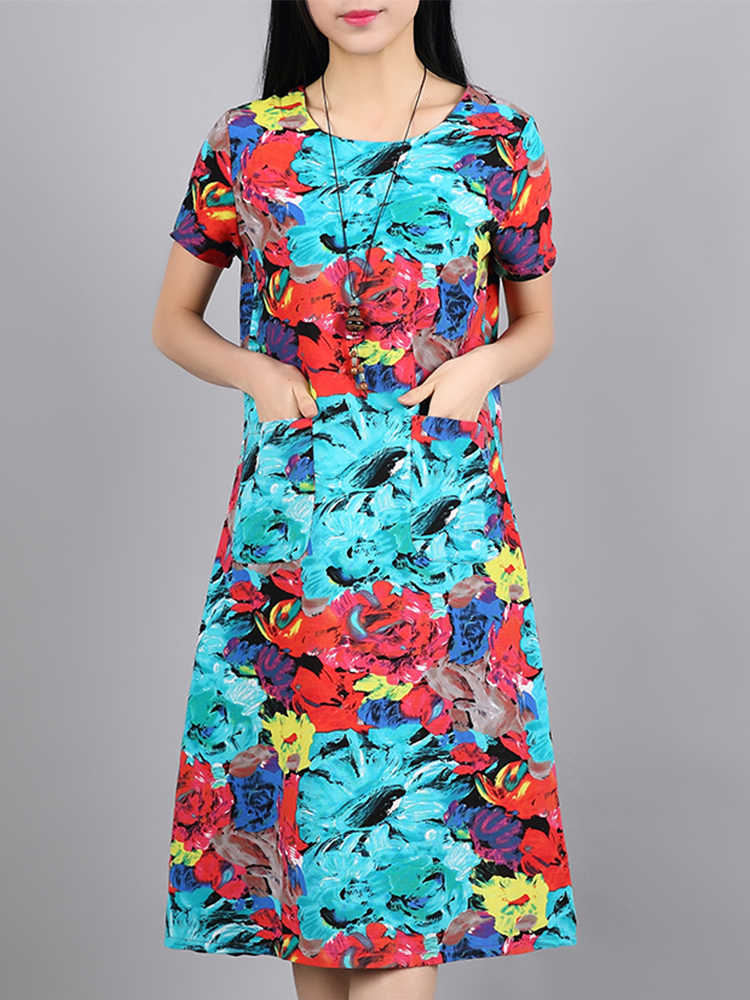 Women Floral Print Loose Pocket Vintage Dresses
