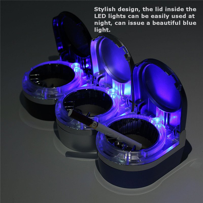 Portable Car Ashtray ABS Led Lamp Smoke Cylinder Holder Cigar Cigarettes Ashtray