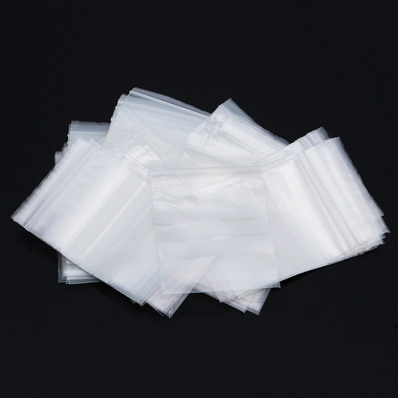 100Pcs 7x10cm Reclosable Ziplock Bag with Writing Panels PE Self Adhesive Seal Ring Bags