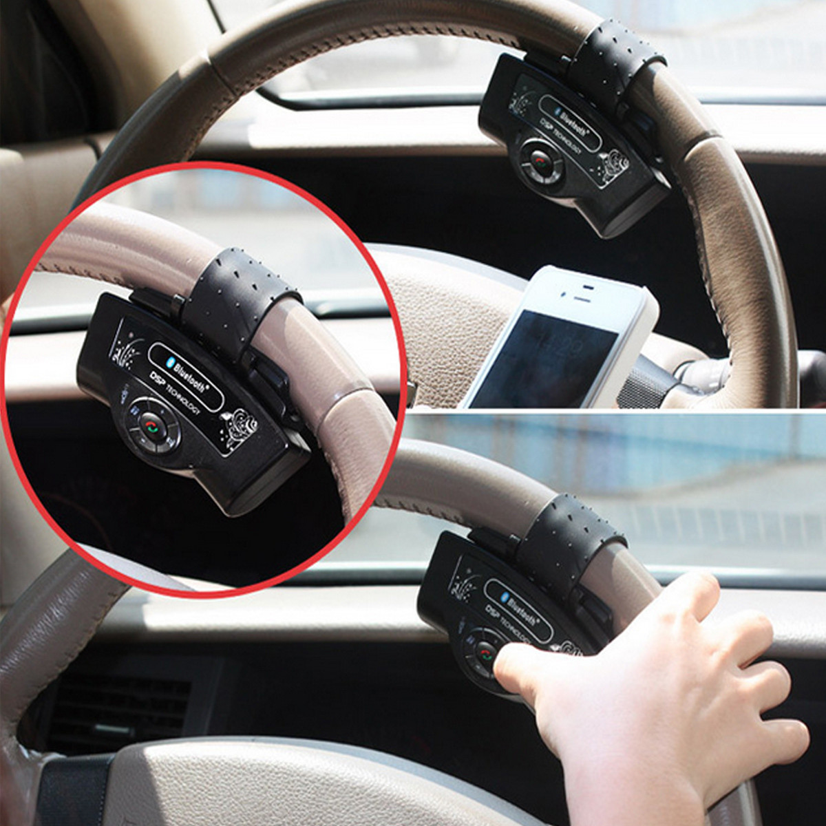 5V Car Hands Free bluetooth Steering Wheel Control Mp3 Speaker Kit For Cell Phone